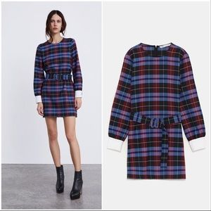 Plaid Belted Dress With Button Cuffs